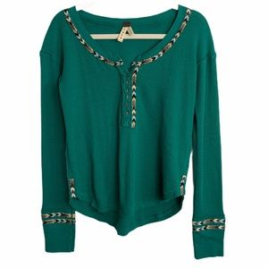 We the Free Green Aztec Embroidered Thermal Top